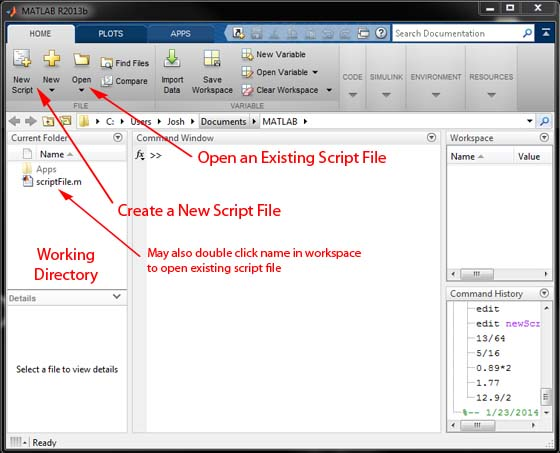 Basic MATLAB Tutorial - Creating and Opening a Script File