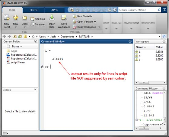 Basic MATLAB Tutorial - Script File Command Window Output