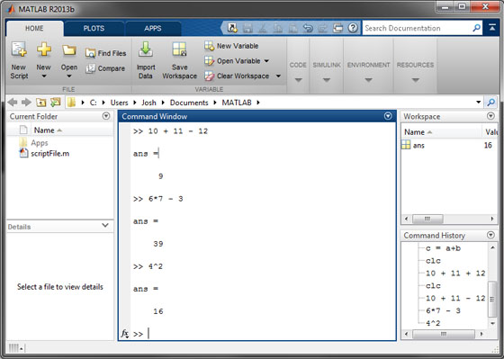 Assigning variables in MATLAB command window
